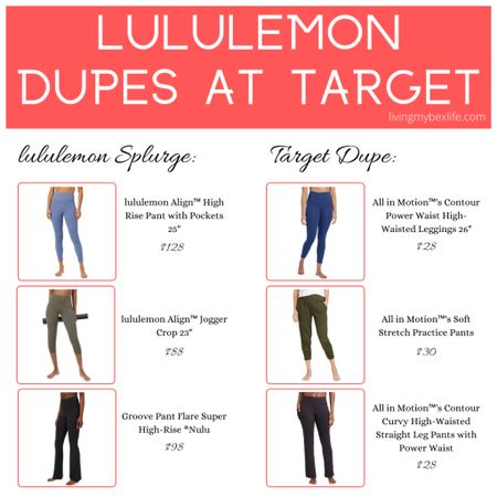 """lululemon dupe alert 🚨 Want the lululemon look without the lululemon price tag? Try one of these three lululemon dupes from performance-wear brand All in Motion at Target. The lululemon Align High-Rise Pant with Pockets, lululemon Align Jogger Crop 23"""" and Groove Pant Flare Super High-Rise will cost you $58 to $100 more per pair for their proprietary buttery-soft Nulu fabric.   #LTKcurves #LTKunder50 #LTKfit"""