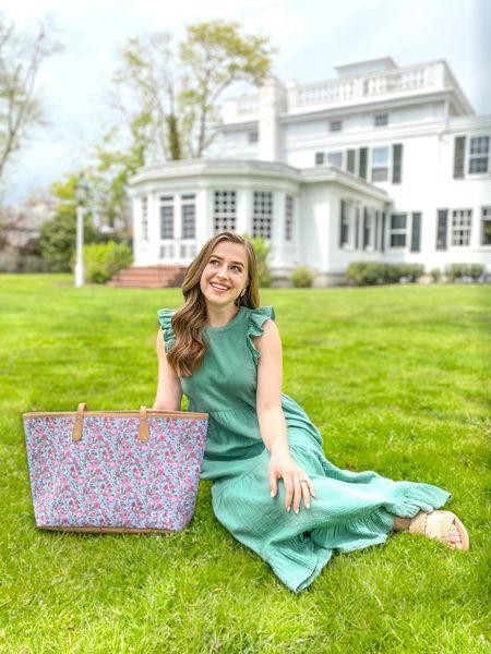 Barrington tote. Monogrammed bag. Target dress. Target style. Midi dress. Green dress. Dress with pockets. Pink floral bag.   #LTKitbag #LTKunder50 #LTKSeasonal
