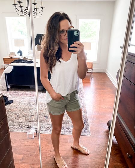 Basic white tee and denim shorts is my classic go to! This old navy luxe tank is so soft, not see through and is on sale! I'm wearing an xs!  http://liketk.it/3iORb #liketkit @liketoknow.it