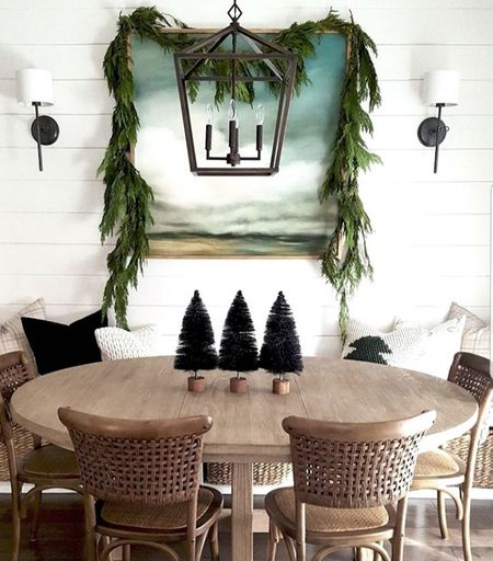 As much as I use faux greenery for the holidays, I always incorporate fresh cedar garland as well...it's a non-negotiable. This spot in our last house (the breakfast nook) was my favorite to decorate seasonally, and I miss it so! But you know what? It's been two years since we moved from that beloved home, and I can joyfully say this house (which felt new and foreign last year) is now home...like for as long as we're in this state. It feels like a comfy sweater every time we walk in, and I'm having so much fun with Christmas decor! . Swing by my stories to see where I used fresh garland this year, and as always, I've linked everything that I could on my @liketoknow.it page. #liketkit http://liketk.it/2HUFd