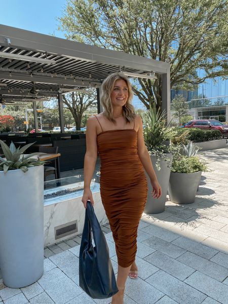 BEST SELLER 🌟 Ruched Amazon wedding guest dress in the perfect brown shade for fall!  #LTKwedding #LTKstyletip #LTKunder50