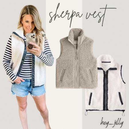 Love these new Sherpa vests from Abercrombie! Wearing size xs  #LTKstyletip #LTKunder100 #LTKSeasonal