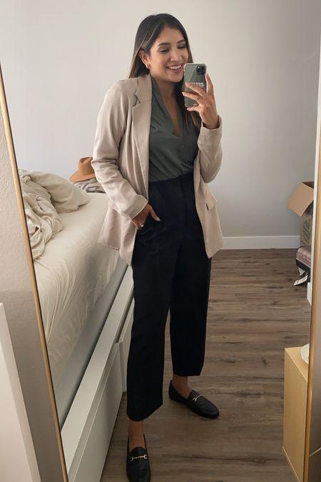 Simple but trendy workwear look with a beige blazer, green top & black trousers  #LTKunder50 #LTKSeasonal #LTKworkwear
