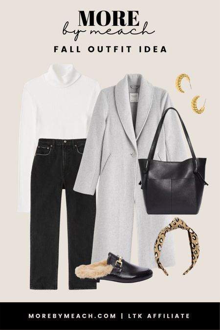 A neutral fall outfit idea using a ribbed turtleneck sweater, black curvy fit jeans, a grey wool coat, a leather tote bag, and black mules. 🤍   #LTKstyletip #LTKSale #LTKSeasonal