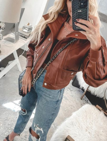 A camel leather jacket is a definite wardrobe staple and this one is amazing!! The fit is amazing and the color is so perfect for fall!! It runs tts, I'm wearing an XS.   Follow my shop @soheatherblog on the @shop.LTK app to shop this post and get my exclusive app-only content!  #liketkit  @shop.ltk http://liketk.it/3or7P  Follow my shop @soheatherblog on the @shop.LTK app to shop this post and get my exclusive app-only content!  #liketkit #LTKunder100 #LTKstyletip #LTKSeasonal @shop.ltk http://liketk.it/3p0wX