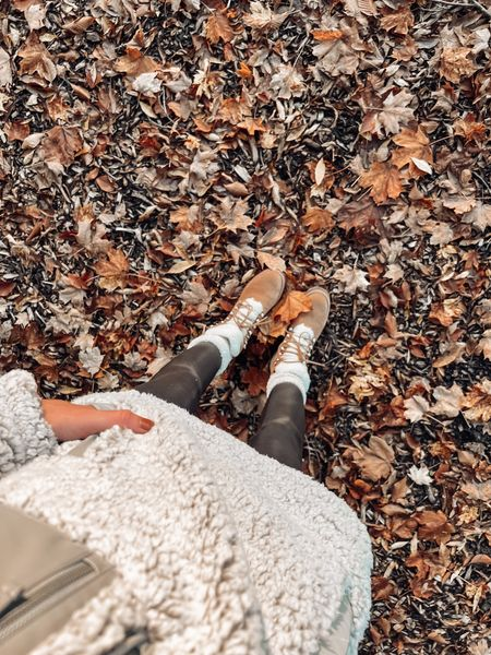 Fall cozy vibes Pumpkin patch outfit Spanx faux leather leggings outfit  Marc fisher izzie hiking boots  Flat boots and leggings  Fuzzy Sherpa  Abercrombie   #LTKstyletip #LTKunder50 #LTKSeasonal