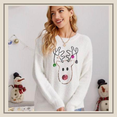 Christmas sequin elk holiday pattern sweater from Shein   #LTKHoliday #LTKstyletip #LTKunder50