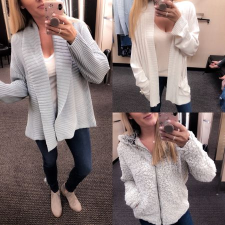 Love the light blue color of this cardigan!! ($52) Oh so so excited about this fuzzy zip-up!! ($58)  Finally this cream cardigan feels like a dream!! ($59) Also linking my top 2 pair of dark denim non distressed jeans!! See IG Stories for fit, everything in my highlights!!http://liketk.it/2wwOt #liketkit @liketoknow.it #LTKunder50 #LTKunder100 #LTKstyletip #LTKsalealert #LTKitbag #LTKshoecrush