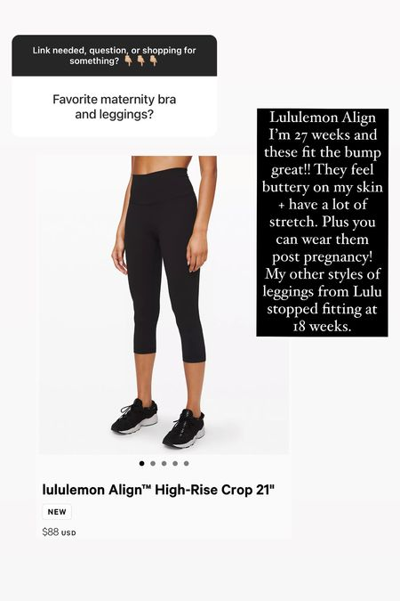 Lululemon Align!! I'm 27 weeks and these fit the bump great. They feel buttery on my skin + have a lot of stretch. Plus you can wear them post pregnancy! My other styles of leggings from Lulu stopped fitting at 18 weeks. I'm 5'3 and wear size 4 in all bottoms from this brand.  . . . #BumpStyle #Maternity #nonmaternity #Lululemon #Leggings #WorkoutWear #WorkoutStyle #fall #FallStyle  #LTKbump