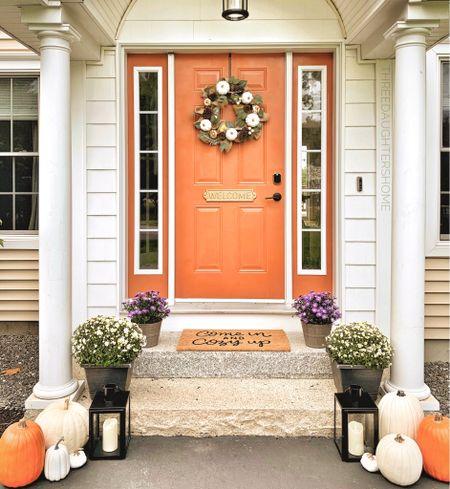 Orange is the new black… right?! ;) 🧡 fall, fall entryway, fall front porch, fall decor, fall exterior, orange door  #LTKunder50 #LTKhome #LTKSeasonal