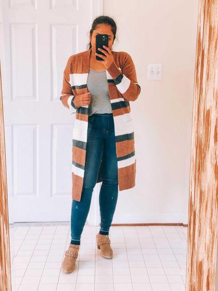 Fall casual look, dolce vita ankle boots, booties, striped cardigan, Spanx jeans, loft fall fashion finds, Jcrew penny tank, labor day sales #ltksalealert  #LTKunder50 #LTKSeasonal #LTKstyletip