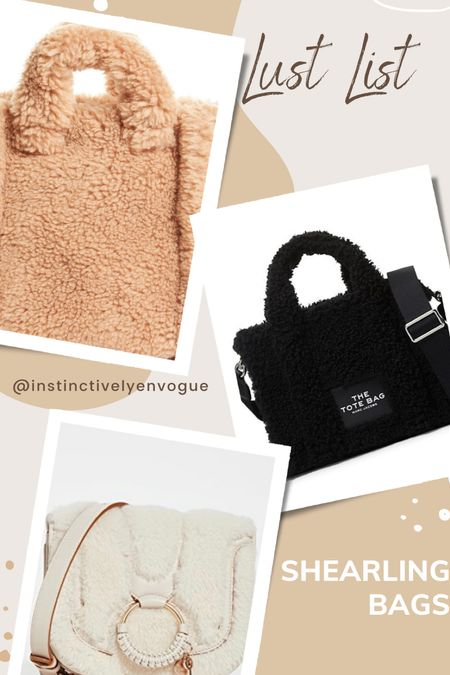 Lust list- shearling bag, shearling bags, teddy tote, teddy bags  #LTKGiftGuide #LTKitbag