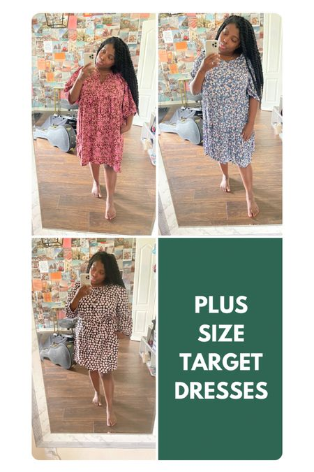 """The hunt for perfect plus size summer dresses continues! I feel like I struck gold at Target with these — wearing an XXL in all. I'm a size 16 and 5'2""""  Linked the exact dresses to make it easier for y'all but they all come in multiple patterns! http://liketk.it/3hXRQ #liketkit @liketoknow.it #LTKcurves"""