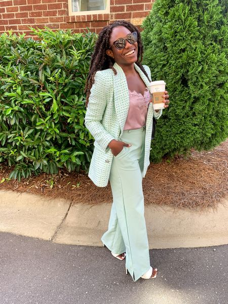 Pastel mint green suit set for women. Originally Zara double breasted blazer but linking similar styles!     #LTKunder100 #LTKworkwear