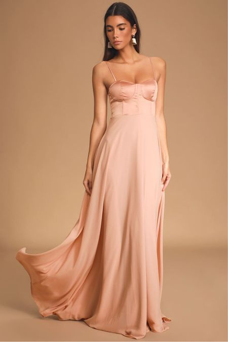 Pink blush satin maxi gown with bustier Engagement photo session dress Wedding guest dress Bridesmaid dress   #LTKunder100 #LTKwedding