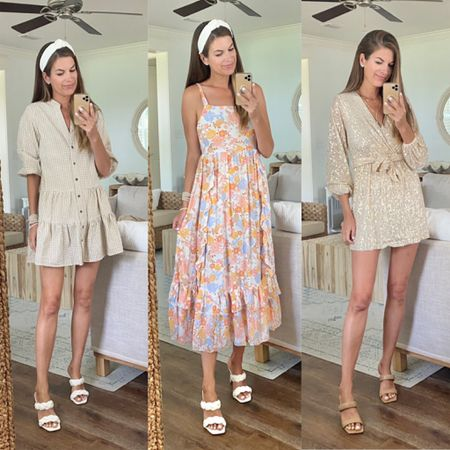 Wedding guest dress options!  The first two would be great for more casual weddings. The third has some sparkle ❇️! All fit true to size.  Use code SHOPRACHEL for 15% off anything on the Petal and Pup website!    #LTKunder100 #LTKsalealert #LTKwedding