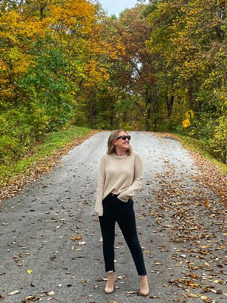 Fall outfit featuring cashmere sweater from Jenni Kayne (M)  Agolde Toni jeans (27) dark wash jeans  Fall boots Fall booties Fisherman sweater  Ankle booties  Suede ankle boots   #LTKSeasonal