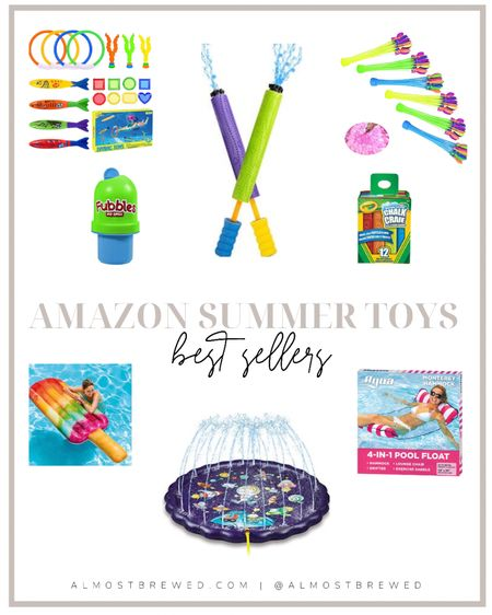 Amazon best sellers summer toys and water activities. Water pool floats floaties, sprinkler, water pad, bubbles, no sprill bubbles, water guns, water balloons, sidewalk chalk, pool toys, pool games http://liketk.it/3hbx1 #liketkit @liketoknow.it #LTKDay #LTKkids #LTKunder50 @liketoknow.it.home