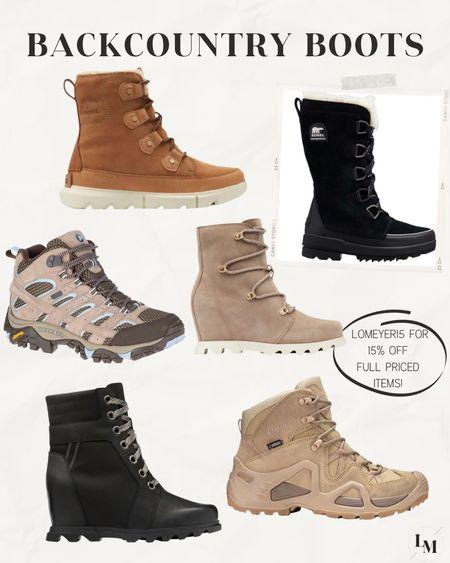 Backcountry boot favorites on sale with code LOMEYER15!! // hiking boots Sorel boots fur boots winter fall   #LTKsalealert #LTKshoecrush #LTKSeasonal