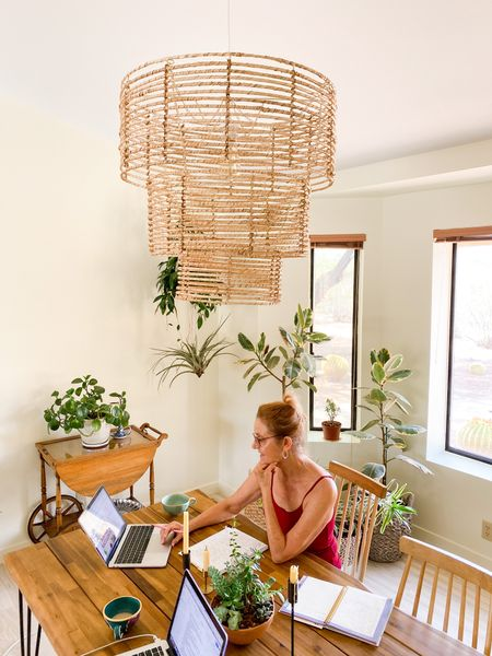 This 3-tier jute chandelier compliments the indoor/outdoor vibe of my home beautifully. Boho home. Natural home, home decor, boho home decor, boho chandelier  #LTKhome #LTKstyletip