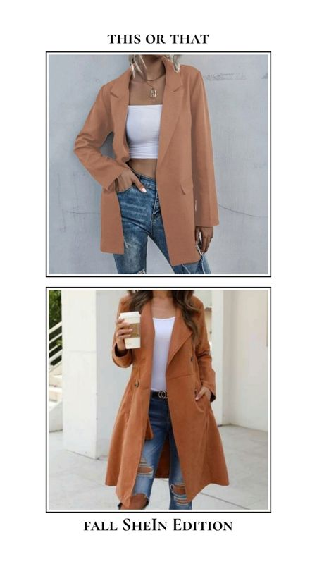 Fall SheIn finds - This or that. Blazer or jacket? Find these fall jackets and more for under $30! Tan taupe orange rust fall colored blazers and jackets. http://liketk.it/3ncWT @liketoknow.it #liketkit #LTKSeasonal #LTKunder50 #LTKworkwear