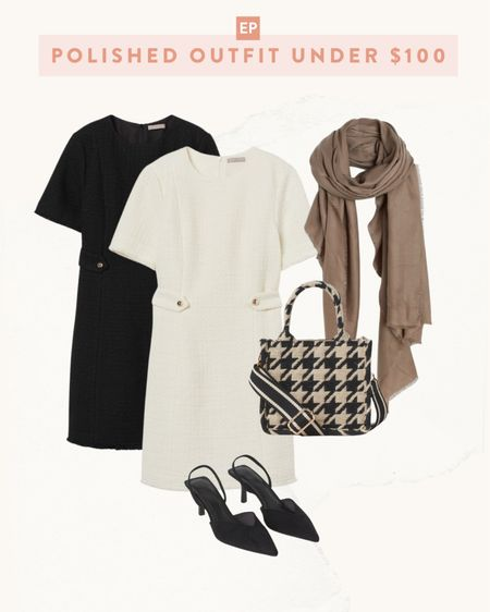 fall outfits // affordable H&M finds  •fall boucle dress in white or black  •houndstooth bag •neutral fall scarf  •black sling backs   #petite   #LTKSeasonal #LTKitbag #LTKstyletip