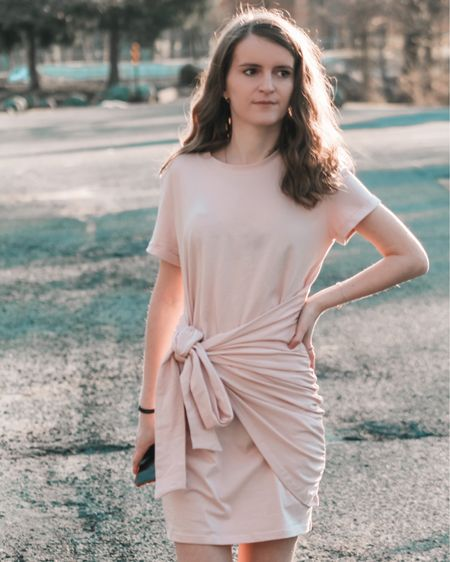 a tie front t shirt dress can be paired with ankle strap sandals, or sneakers for a spring outfit. Shop my daily looks by following me on the LIKEtoKNOW.it shopping app  http://liketk.it/3biYp  #liketkit @liketoknow.it l #LTKcurves #LTKsalealert #LTKstyletip #LTKtravel #LTKunder50 #LTKshoecrush #LTKitbag #LTKunder100 # #LTKSeasonal  Amazon fashion   amazon finds   amazon dress   Beach vacation   vacation outfits   summer fashion   summer dress   dresses for everyday   mini dress   Nordstrom   nordstorm sale   sandals   sandals platform   bags on sale   bags under 50   bags under 100