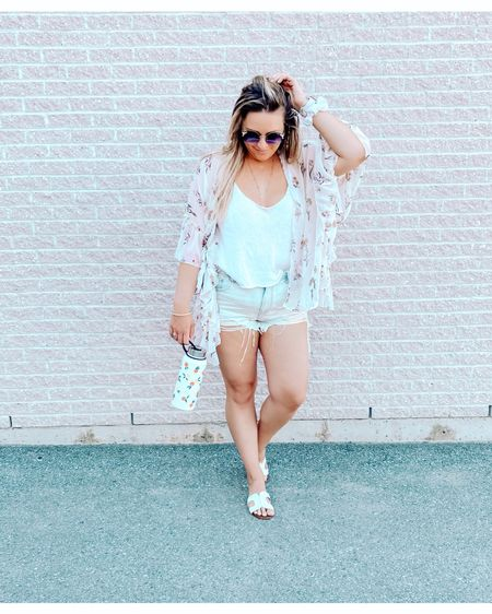 Summer outfits that are versatile for day and night have my whole heart! Loving this simple white tank & distressed, ripped, light wash jean short combo! The sheer cardigan is a great touch on top! I'm still crushing over these white slide sandals I picked up last summer - similars linked! You can never go wrong with white slide sandals!   Check out this cute water-bottle from Indigo ✨ the orange pattern is too cute! Also comes in papayas 🤣  http://liketk.it/2SVQ6 #liketkit @liketoknow.it #LTKunder50 #LTKunder100 #LTKshoecrush #jeanshorts #rippedjeanshorts #lightwashjeans #lightwashjeanshorts #stainlesssteelwaterbottle #waterbottle #1Lwaterbottle #reusablewaterbottle #whitetank #summerstyle #summerlovin