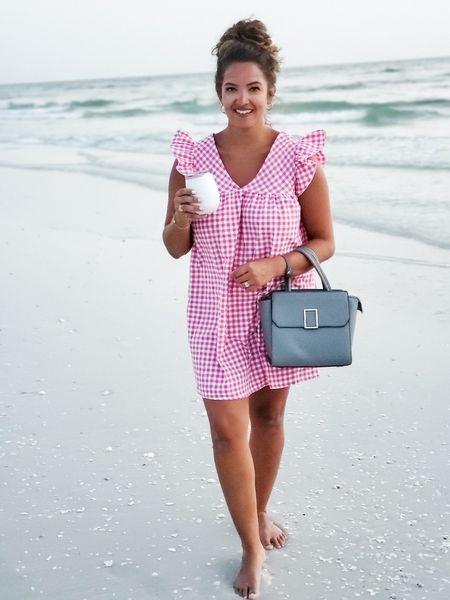 Pink gingham & toes in the sand   #LTKSeasonal #LTKcurves #LTKstyletip