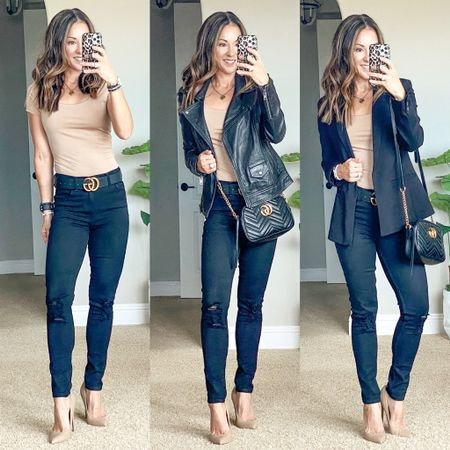 BOGO 1/2 off on Express Bodysuits!! These are sooo good! I'm wearing an xs and theirs plenty of torso room. My nude heels 👠 are on major sale with free shipping! 🙌🏻 they are gorgeous!  I linked several blazer, leather jacket & denim options from affordable to spendy since mine is sold out.    #LTKstyletip #LTKunder50 #LTKsalealert