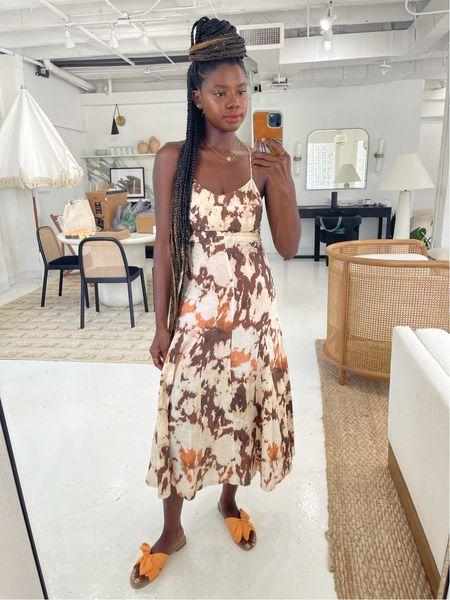 Strappy tie dye dress and orange bow slides. Perfect summer vacation dress.   #LTKstyletip #LTKunder100 #LTKtravel