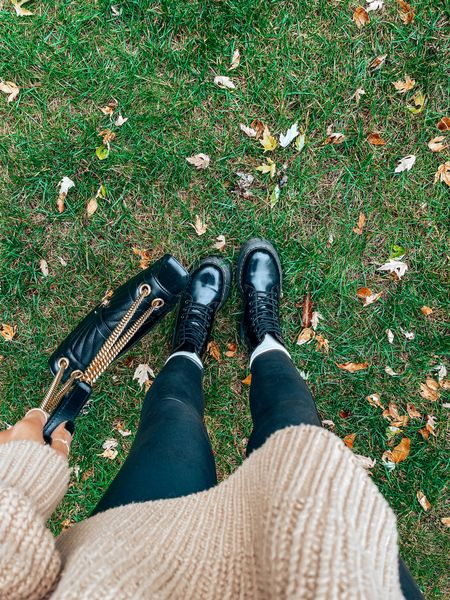 Fall outfit with combat boots - size down .5 in doc martens!   #LTKshoecrush #LTKSeasonal #LTKitbag