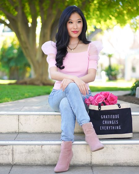 Pink Puff sleeve top! Looking for the perfect pink top that adds some fun to any outfit? Pair with pink booties, light blue jeans and a gratitude bag! http://liketk.it/390Vs #liketkit @liketoknow.it #LTKunder100