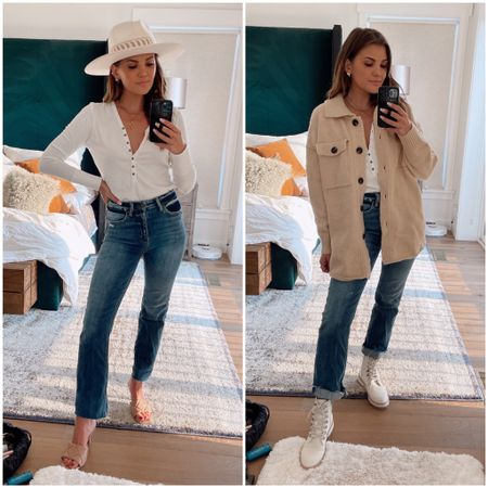 Bohme Try On - Summer to Fall Outfits  Get 25% off with code: KristinRose15   White henley top and Cropped jeans with summer hat and Zeal heeled mules.  Add chunky cardigan sweater (coatigan) and light combat boots for fall  Hat - Olive and Pique   Fall outfit      #LTKshoecrush #LTKSeasonal #LTKstyletip