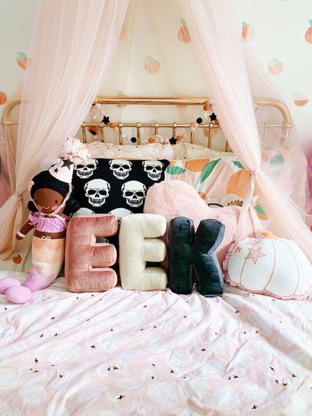 Halloween decor, pink Halloween decor, girls room, pink decor, girls bedding  #LTKSeasonal #LTKhome #LTKkids