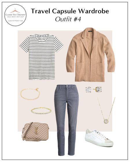 classy yet trendy, J. Crew, sweater blazer, Banana Republic, Ivory Sweater, Anine Bing, utility jacket, J Crew Factory tee, AG jeans, Sam Edelman, sneakers, Gucci, loafers  #LTKstyletip#LTKshoecrush#liketkit @liketoknow.it