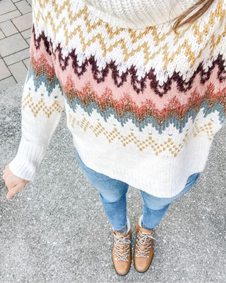 This cute fair isle turtleneck sweater is cozy and perfect for winter - plus it is 40% off.  It looks great styled with jeans and cognac brown hiking boots.  #over40style #hikingboots #fairislesweater #LOFT #liketkit  . . SHOP MY LOOK: 1️⃣ Use this link: http://liketk.it/31No9  2️⃣ Download and follow me on the FREE @liketoknow.it app 3️⃣ Screenshot this photo 4️⃣ Click the link in my profile