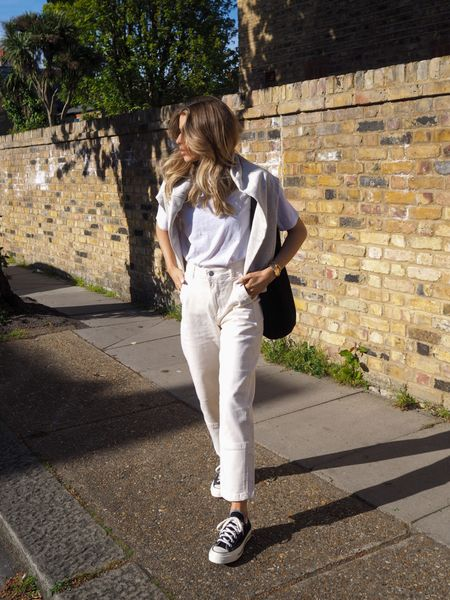 Spring basics are an essential and these cream cargo jeans are perfect teamed with a white tee for a chic simple spring look! I've also added a sweater over my shoulders for a bit of added warmth     #LTKeurope #LTKSeasonal