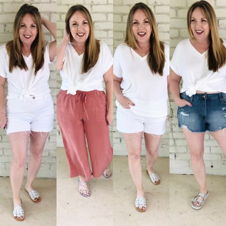 http://liketk.it/3dlm7 #liketkit @liketoknow.it #LTKstyletip #LTKunder50 #LTKworkwear white tshirt, denim shorts, wide leg pants, embellished sandals