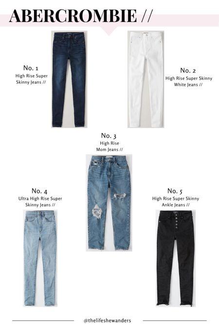 Sharing my 5 favorite Abercrombie jeans!  1: high rise super skinny jeans - 24/00 short  2: high rise super skinny white jeans - 25/0 short  3: high rise distressed mom jeans - 25/0  4: ultra high rise super skinny jeans - 25/0 short  5: high rise button-fly raw hem super skinny jeans - 25/0   http://liketk.it/2JbeR #liketkit @liketoknow.it #LTKunder50 #LTKsalealert #LTKstyletip #denim #jeans #momjeans #distressedjeans #whitejeans #abercrombie #abercrombiejeans