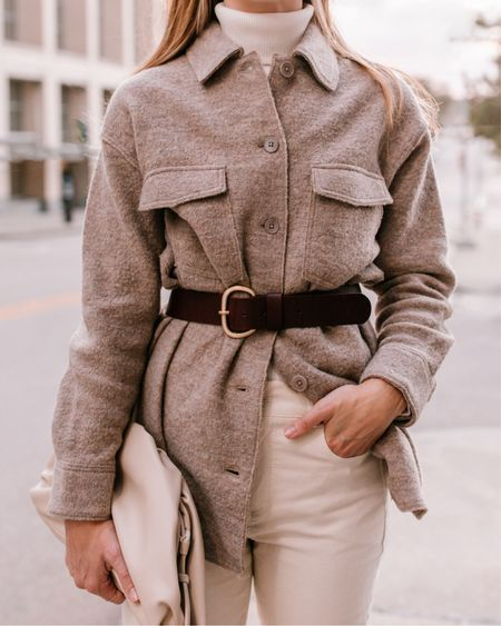 Shacket, Shirt Jacket, Shacket Outfits  Wearing size XS in shacket, S in turtleneck, true size in jeans—they do have a little stretch.  #shirtjackets #shackets #brownbelt #shacketoutfit