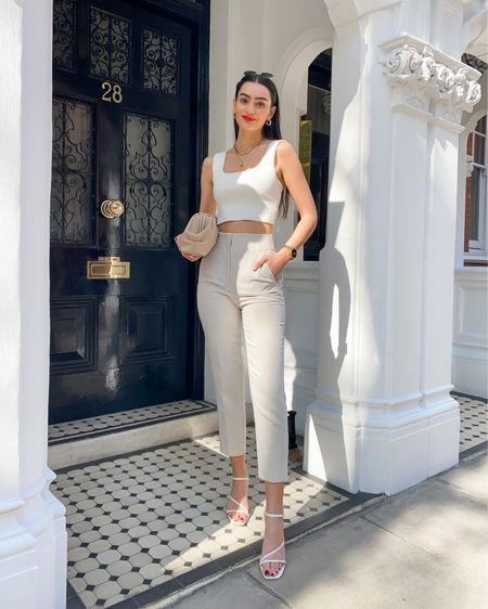 Cream square neck crop top, high waisted trousers, strappy sandals  @liketoknow.it #liketkit http://liketk.it/3iBzi