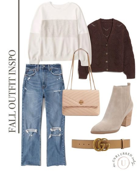 Casual everyday fall fashion outfit inspo and ideas! Love these Abercrombie jeans paired with a light sweater cardigan on top! . .        Sweater, booties, fall outfits, boots, sweaters, tan booties, fall outfit women, knit cardigan, distressed denim   #LTKstyletip #LTKunder100 #LTKFall