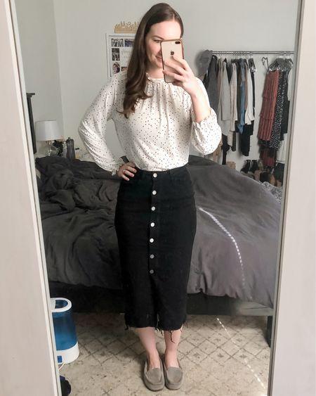 Spring outfit, modest outfit, black pencil midi skirt, button front midi skirt, raw hem midi skirt outfit, modest fashion http://liketk.it/3cRdZ #liketkit @liketoknow.it #LTKstyletip #LTKunder50