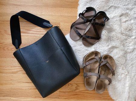 The unexpected dream team: Celine Seau Sangle bucket bag, Birkenstock's and Xero sport sandals.  #LTKSeasonal #LTKunder100 #LTKitbag