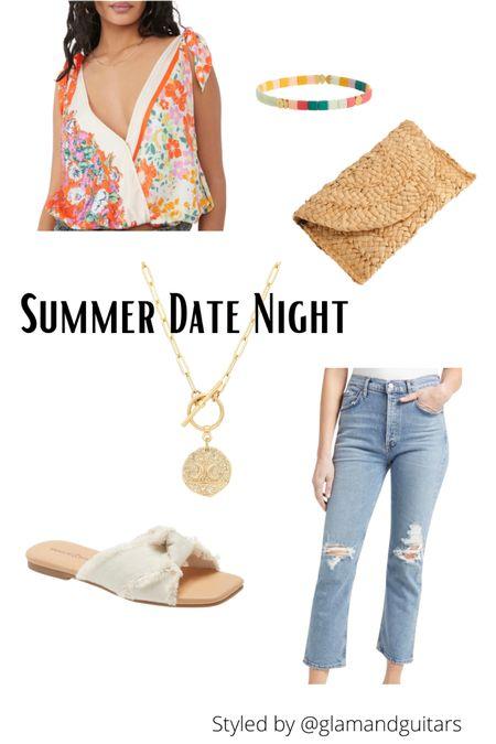 Summer outfits. Date night. Affordable accessories. Jewelry. Clutch. Tie knot blouse. http://liketk.it/3haXU #liketkit @liketoknow.it #LTKstyletip #LTKshoecrush #LTKunder50