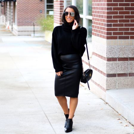 In typical Colorado fashion we went from warm and sunny this week to snowy and cold.❄️ It didn't stick to the roads though, so that's good news and it's absolutely beautiful out!✨My vegan leather skirt is 30% off and my sweater is under $25!🙌🏽 Both are perfect for this time of year.🖤  You can instantly shop my looks by following me on the LIKEtoKNOW.it shopping app   http://liketk.it/2G9JM @liketoknow.it #liketkit   #LTKsalealert #LTKunder50 #LTKworkwear