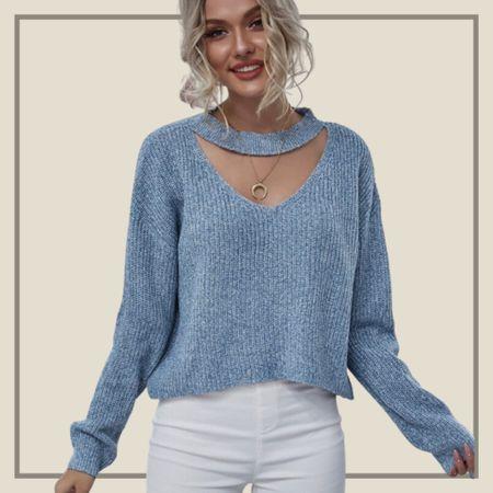 Drop shoulder cut out sweater  #LTKunder50 #LTKunder100 #LTKstyletip