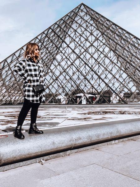Plaid shirt, faux leather leggings, Chanel WOC, Chanel combat boots, fall fashion   #LTKtravel #LTKSeasonal #LTKeurope