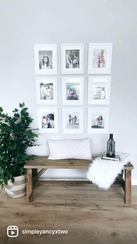 Bench styling, wall photo gallery, throw blanket, faux plant   #homedecor, #interiorstyling, #fauxplant #bench #farmhouse #modernfarmhouse #boho  #LTKhome #LTKsalealert #LTKstyletip